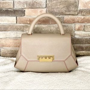 Zac Posen Taupe Satchel with Gold Hardware